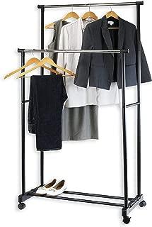 Simple Houseware Double Rod Portable Clothing Hanging Garment Rack