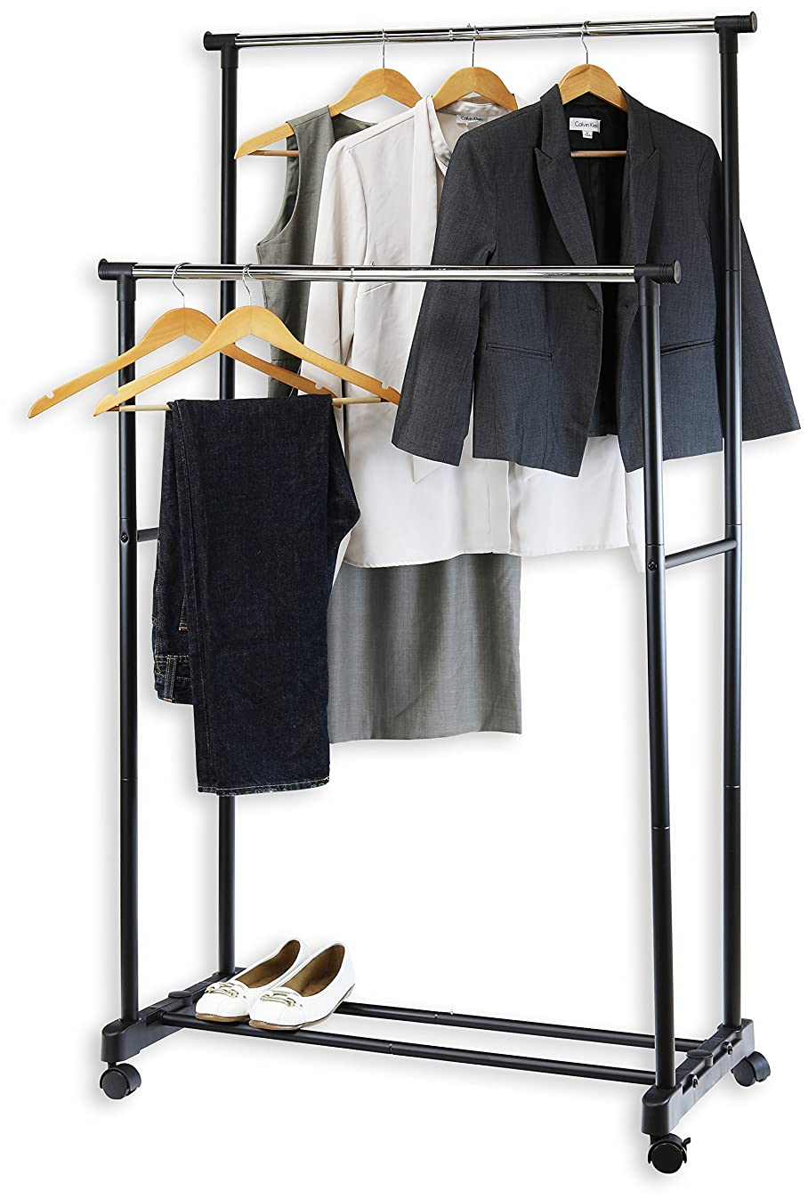 Simple Houseware Double Rod Portable Clothing Hanging Garment Rack