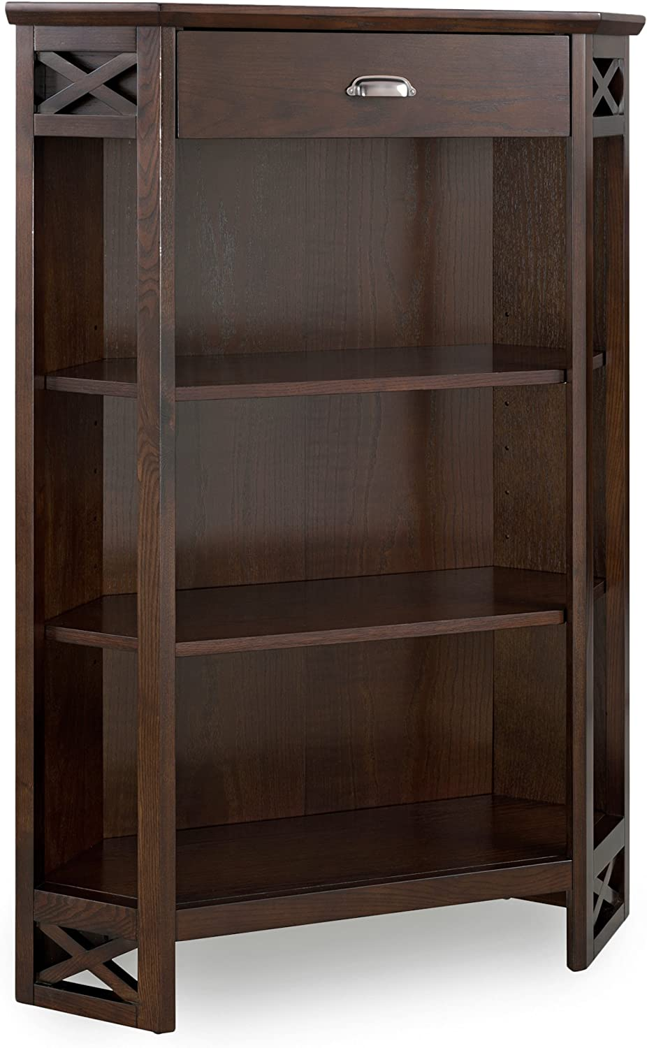 Soldering Leick Furniture Mantel Height Max 55% OFF 3-Shelf with Corner Bookcase Drawe