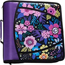 Case-It T641P Zipper Binder, 3-Inch Capacity, with 5-Tab Expanding File, Zip Mesh Pocket, Shoulder Strap, Midnight Floral Purple