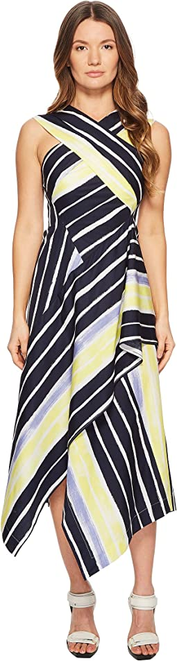 Cles Striped Wrapped Sleeveless Dress