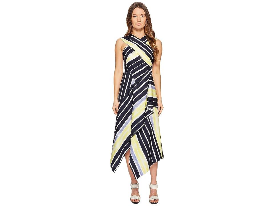 Sportmax Cles Striped Wrapped Sleeveless Dress (Optical White) Women