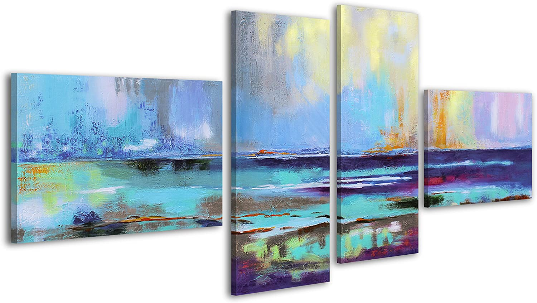 YS-Art Acryl Gemälde Azurblaues Scheinen     Handgemalt   160x75cm   Wand Bild   Moderne Kuns   Unikat   Blau   4-teilig B01C8IA3DU 791e8a