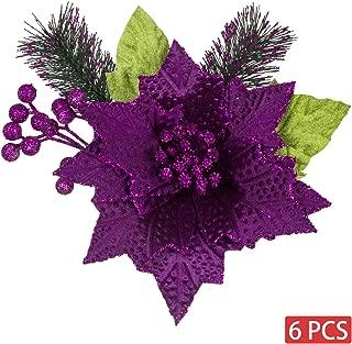 KI Store Christmas Poinsettia 6pcs Artificial Flower Picks Spray for Christmas Tree Decoration Wreath Garland (Purple, 9-Inch)