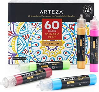 ARTEZA Pintura textil 3D | Juego de 60 tubos de 29 ml | Pinturas para tela | Colores fosforescentes, metálicos y brillantes | Ideales para pintar ropa, accesorios, cerámicas y vidrio