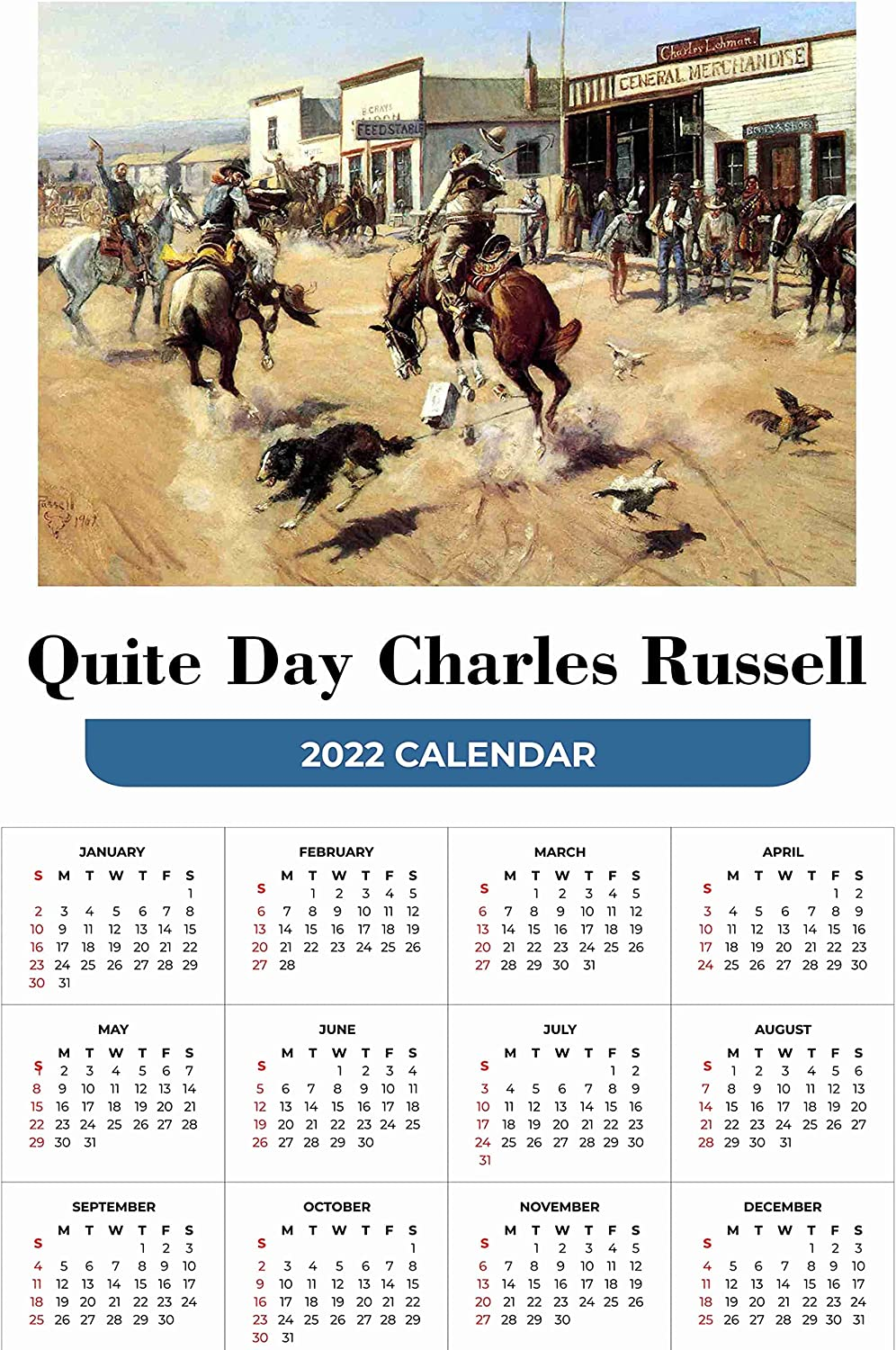 Year At a Fresno Mall Glance Calendar 2022 Russel Charles A Quite Day