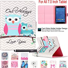 7.0 Tablet Case, Universal 7.0'' Case, Newshine Flip Stand Case Cover with [Card/Cash Slots] Magnetic Closure for All Tablet 7.0 inch Including Samsung Lenovo Kindle(Always Love You)