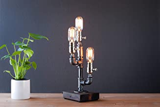 Cactus Industrial Steampunk table pipe lamp with Radio Edison bulb and wood base
