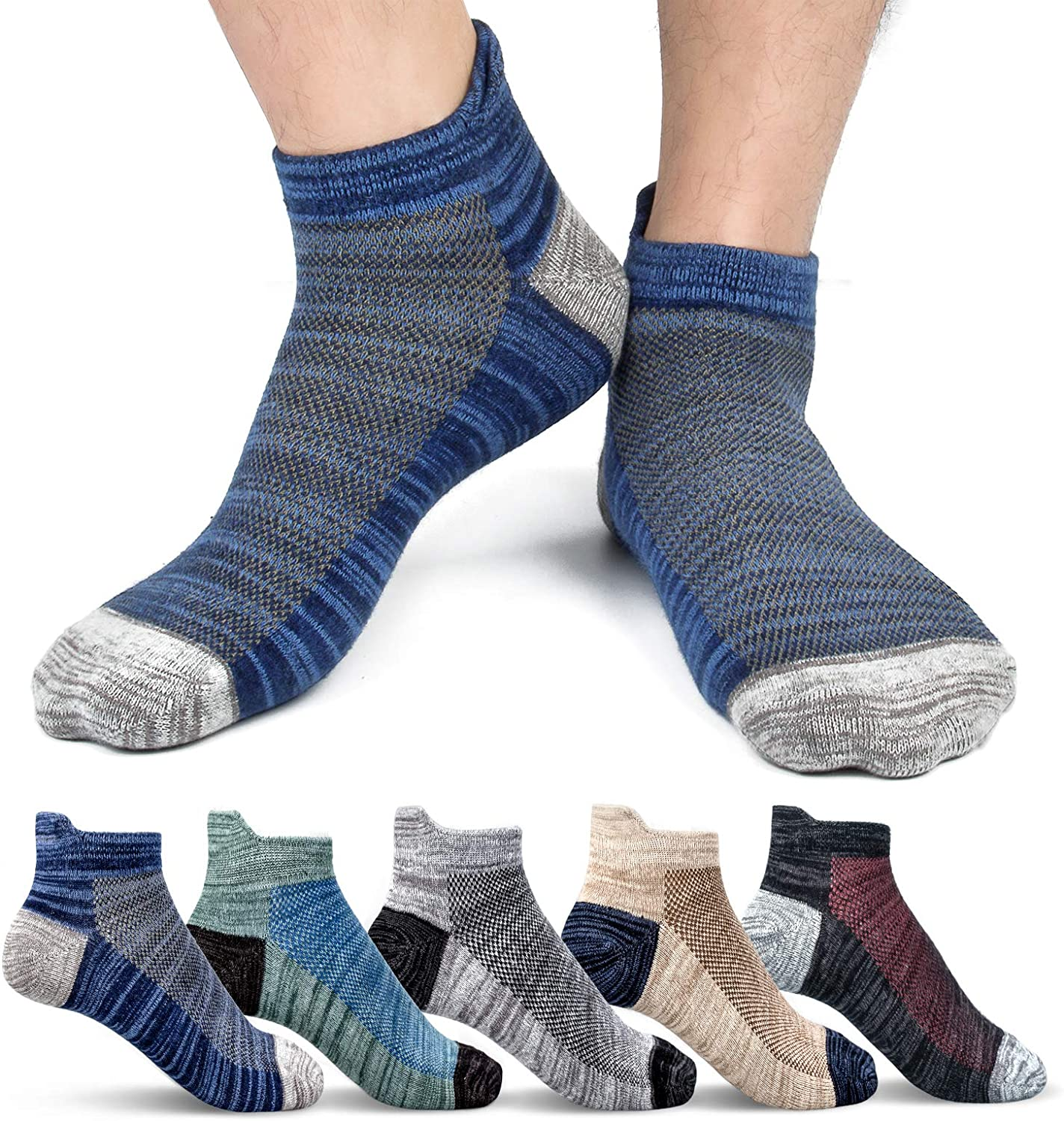 Animer and price revision Mens Ankle Socks Cotton Athletic cheap Sports Sock Moisture Wicking So