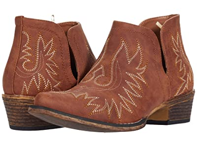 Roper Ava (Tan Faux Leather/Embroidered Shaft) Cowboy Boots