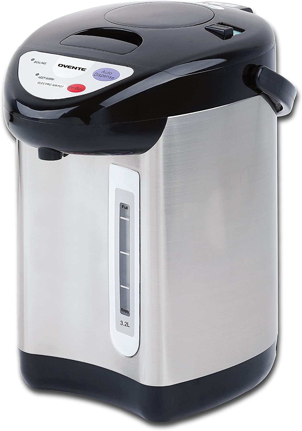 Ovente WA32S 3.2 Liter Insulated Water Dispenser with Boiler and Keep Warm Function,Black Stainless Steel