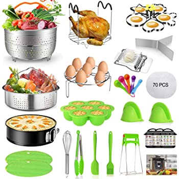 Mibote 102 Pcs Accessories Set for Instant Pot 5,6,8 Qt, 2 Steamer Baskets, Springform Pan, Egg Steamer Rack, Egg Bites Mold, Kitchen Tong, Silicone Pad, Oven Mitts, Cheat Sheet Magnet, and etc