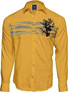 Men`S Causal Designed Cotton Printed Yellow Casual Shirts