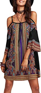 Milumia Women's Vintage Print Kimono Sleeve Geometric Tunic Boho Dress