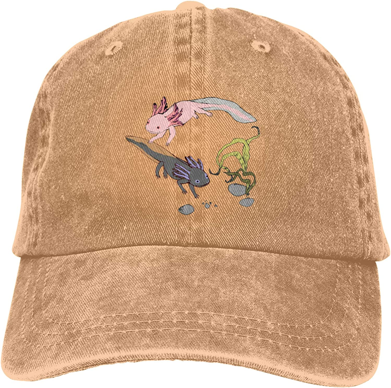 Axolotl Animal Cute Funny Novetly Fish Man's Classic Polo Style Baseball Cap Vintage Baseball Cap