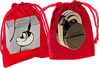 Marble & Padlock Hanayama Brain Teaser Puzzles, with RED Velveteen Drawstring Pouches - Bundled Items