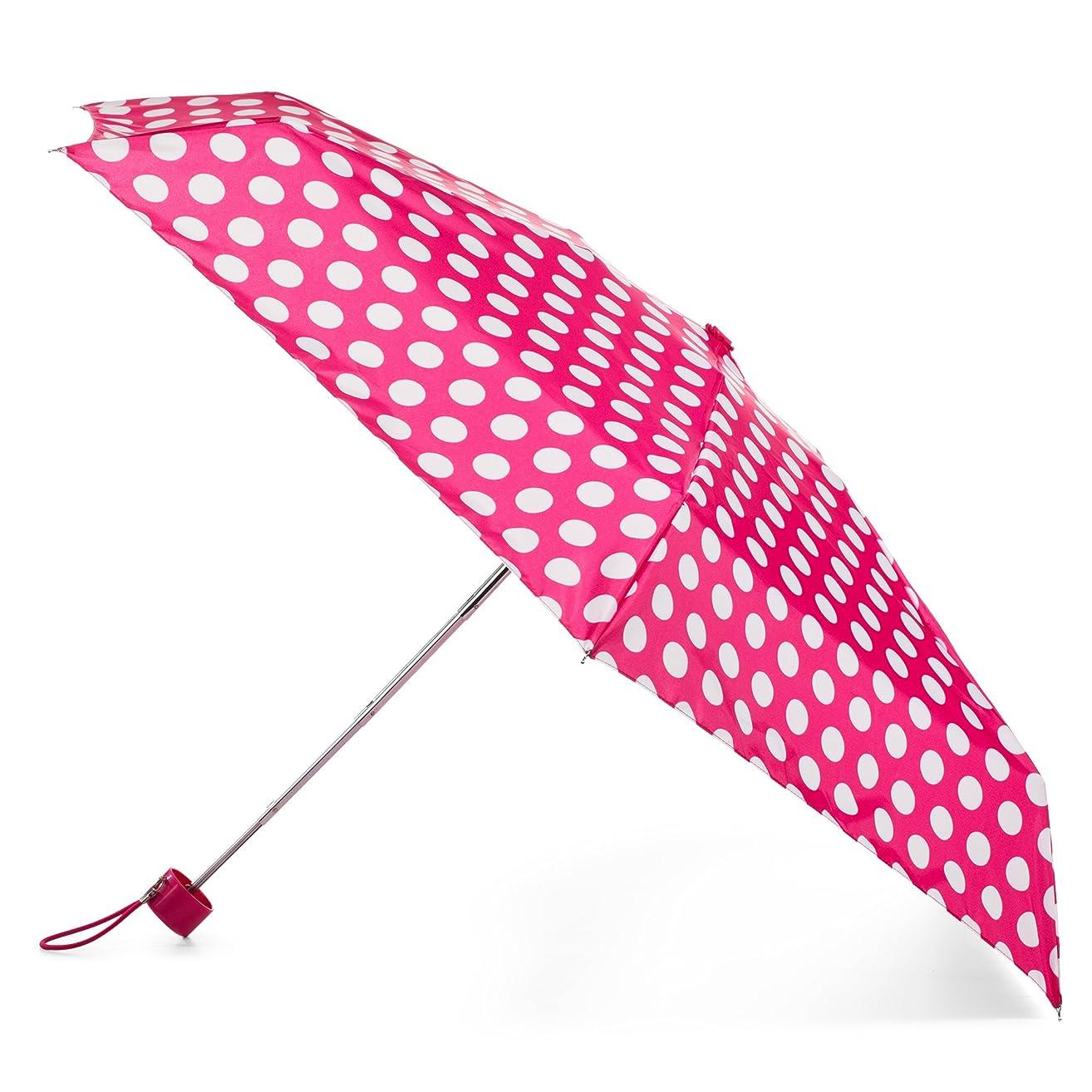 totes Compact Travel Foldable Water-Resistant Umbrella, Pink Polka