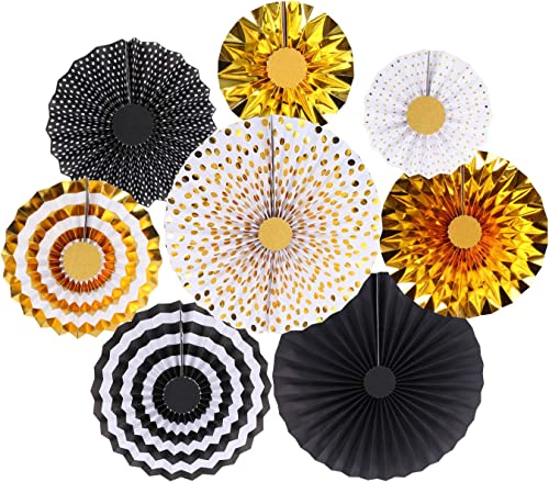 zilue Gold Party Hanging Paper Fans Decoration, Wedding Birthday Graduation Party Supplies Home Decoration Round Even...