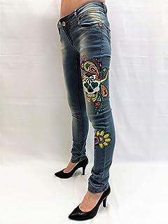 ccbcded7bb0 Pantalones vaqueros cintura baja mujer Casual Jeans pintados