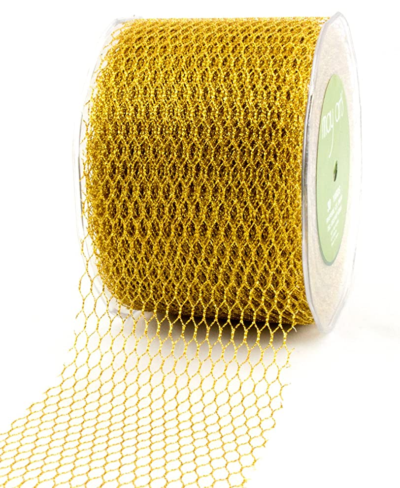May Arts 3-Inch Wide Ribbon, Metallic Gold Net