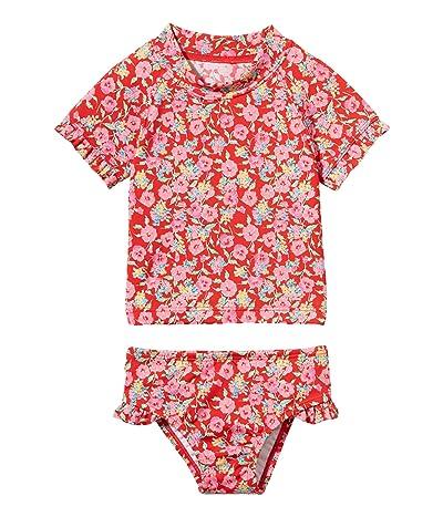 Janie and Jack Short Sleeve Rashguard Swim Set (Toddler/Little Kids/Big Kids) (Red) Girl