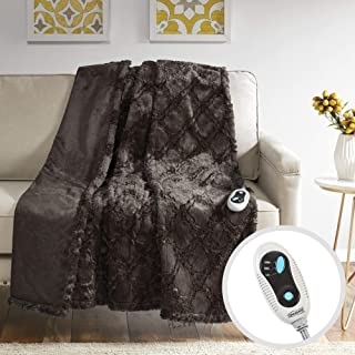 Beautyrest Brushed Long Fur Electric Throw Blanket Ogee Pattern Warm and Soft Heated Wrap with Auto Shutoff, 50