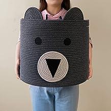 CherryNow Bear Basket, Cotton Rope Basket, Woven Laundry Hamper, Cute Storage Bin in Bedroom, Nursery & Living Room, 14'' ...