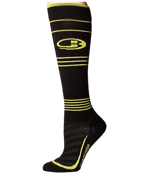 Icebreaker Run + Ultra Light Compression OTC 1-Pair Pack Black/Jet Heather/Fuse Men's Running Socks 8595420