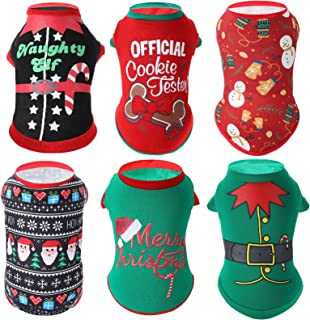 6 Pieces Christmas Dog Shirts Printed Puppy Clothes Soft Breathable Puppy Shirts Christmas Printed Pet T-Shirt Colorful Do...