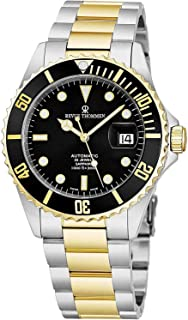 Revue Thommen Mens Diver Watch Automatic Sapphire Crystal - Analog Black Face Two Tone Metal Band Stainless Steel Dive Watch Swiss Made - Scuba Diving Watches for Men Waterproof 300 Meters 17571.2147