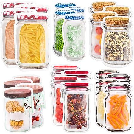 Rechoo cierre de cremallera reutilizables Bolsas lavables para bocadillos y aperitivos impermeables