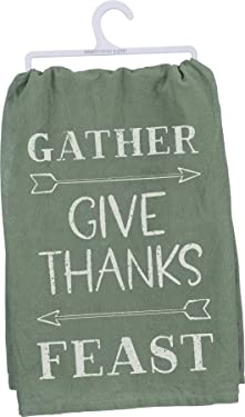 Primitives by Kathy Cotton Dish Towel, 28 x 28-Inch, Gather - Give Thanks - Feast