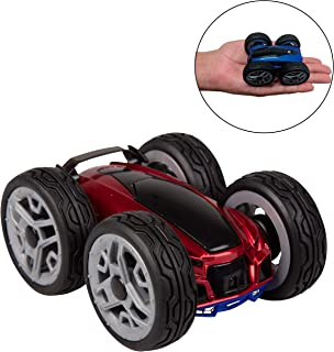 Remote Control RC Car for Kids and Adults - Dual Double Sided Toy Stunt Car with 360 Rotation Spins, Flips - Red/Blue - Ages 6+ - Dyno Insane Car, Lunatic