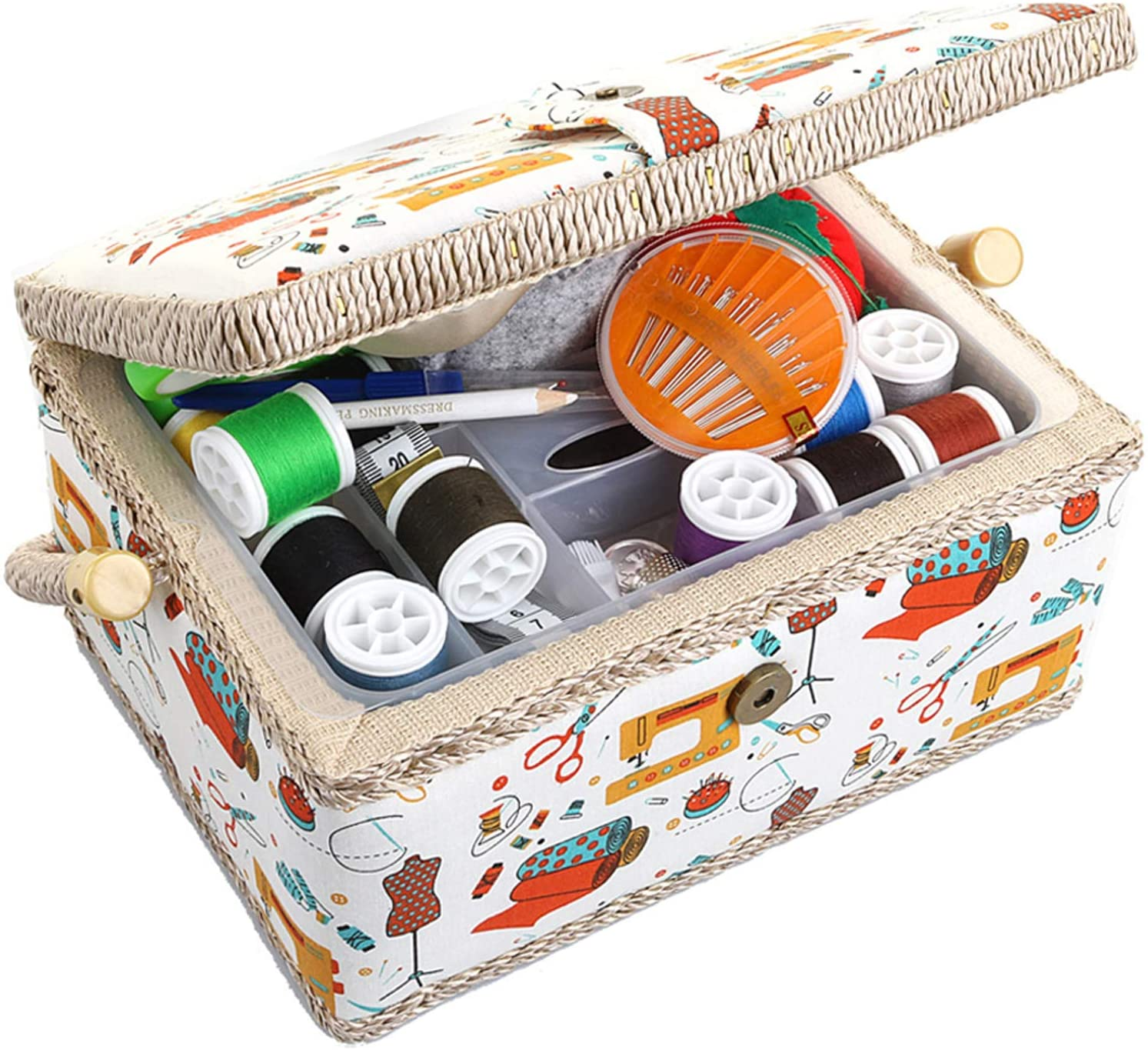 Medium Sewing Popularity Basket Storage Organizer Gorgeous with and Complete