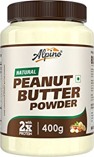 Alpino Natural Peanut Butter Powder 400 G   Unsweetened   Made with 100% Roasted Peanuts & Vitamin E   50% Protein   85% L...