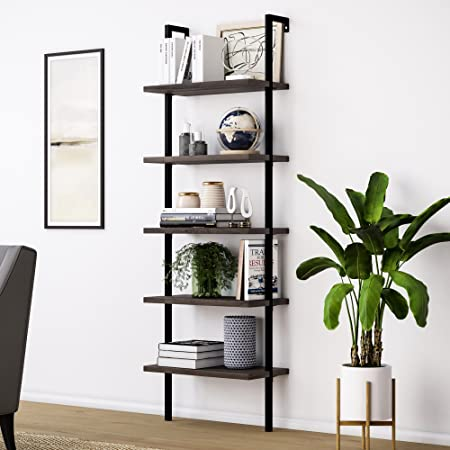 Amazon Com Nathan James Theo 5 Shelf Wood Modern Bookcase Open Wall Mount Ladder Bookshelf With Industrial Metal Frame Warm Walnut Black Furniture Decor