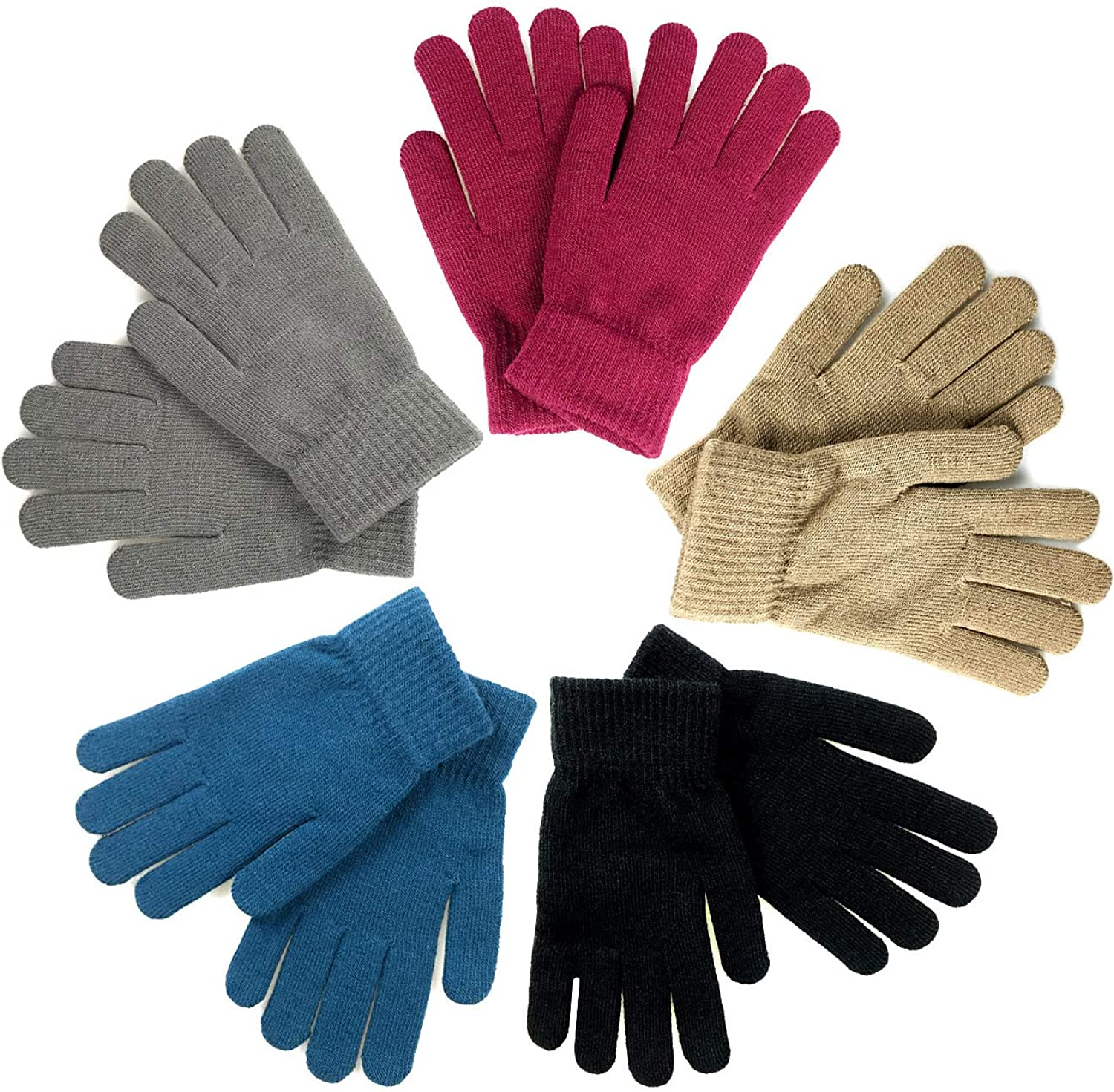 5 pairs of winter knitted magic elastic gloves for adults