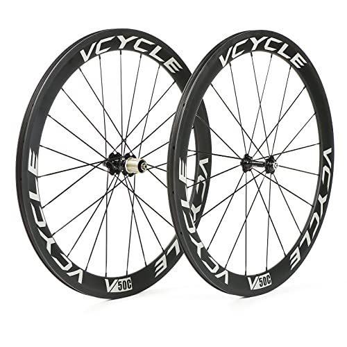 VCYCLE 700C Fibra de Carbono Carretera Bicicleta Ruedas 50mm Remachador 23mm Ancho 1700g Shimano o Sram