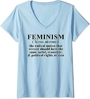Womens Feminist Gift Feminism Definition V-Neck T-Shirt