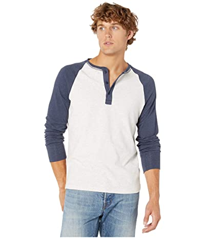 The Normal Brand Long Sleeve Retro Puremeso Henley (Stone/Navy) Men