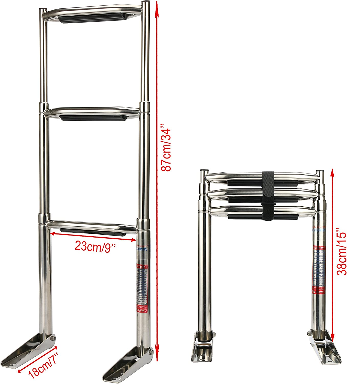 Amarinemade 3 Step Wide Steps Stainless Steel Telescoping Boat Ladder Swim Step