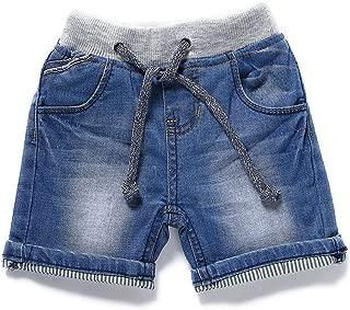 LITTLE-GUEST Baby Boys' Summer Knee-Length Jeans Shorts Toddler Elastic Waist Denim Pants B201