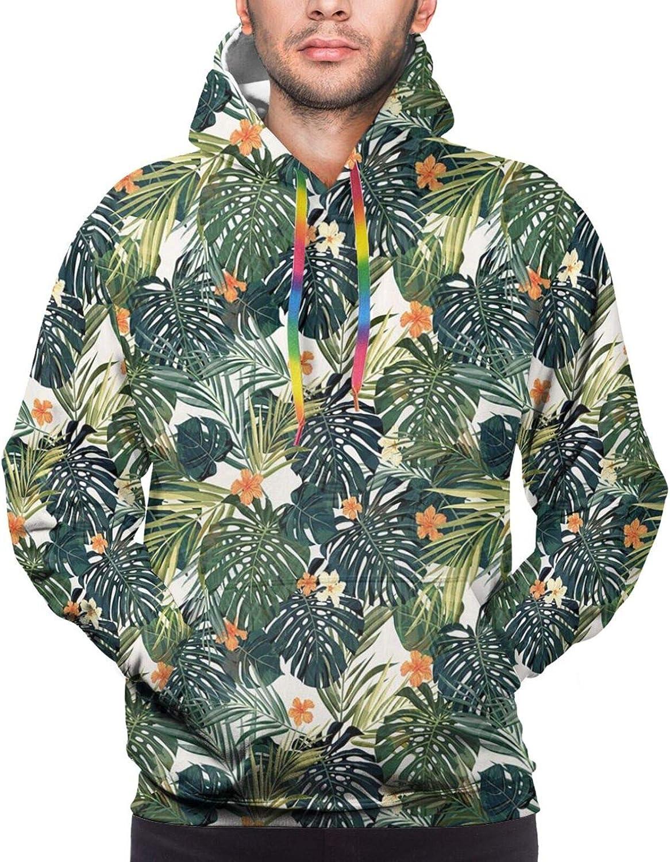 TENJONE Men's Hoodies Sweatshirts,Hawaiian Scene of Forest Plantation Wild Herbs