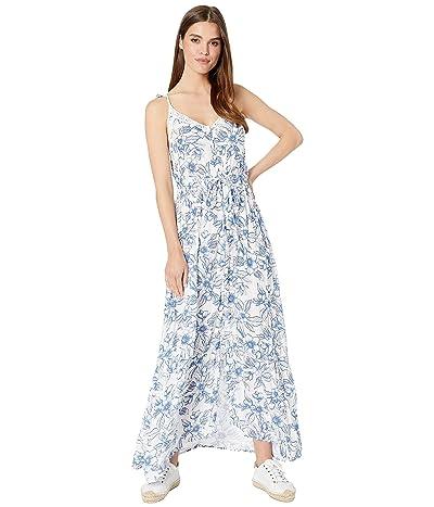Roxy Hot Summer Lands Strappy Button Through Maxi Dress (Bright White Robbie Floral) Women