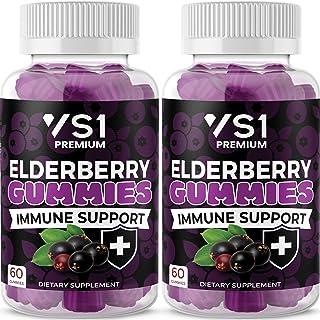 (2-Pack) Organic Elderberry Gummies by VS1 for Adults Kids with Vitamin C, Zinc, Propolis - Sambucus Black Elderberry Gumm...