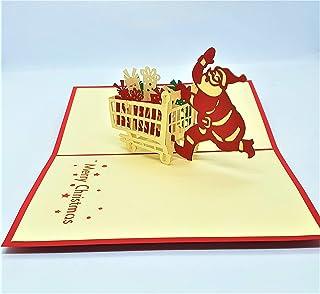BC Worldwide Ltd Biglietto natalizio pop-up 3D fatto a mano Buon Natale Babbo Natale occupato con carrello della spesa con...