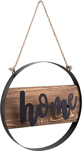 MyGift Hanging Decorative Home Wood Metal Sign With Twisted Jute Rope