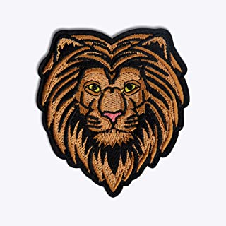 N2-X Brown Embroidered Lion Head Badge with Velcro Back (8859542021897), Multicolor