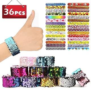 SCIONE Slap Bracelets Party Favors Pack for Girls Party Supplies Reversible Sequin Flip Mermaid Bracelets School Classroom Prizes Christmas (36pcs(28+8))