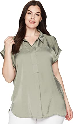 Plus Size Short Sleeve Collared Henley Rumple Blouse